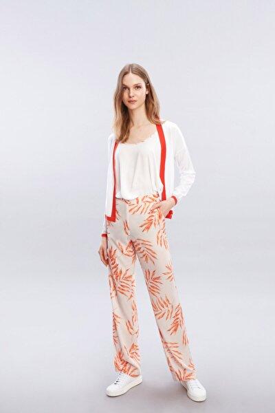 Kadın Turuncu Rahat Kesim Prınt Pantolon