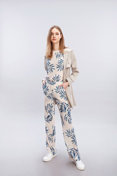Kadın Lacivert Rahat Kesim Prınt Pantolon