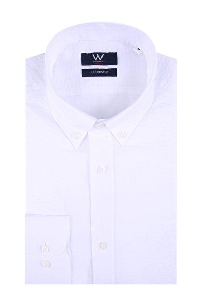 Beyaz Seer Sucker Gömlek