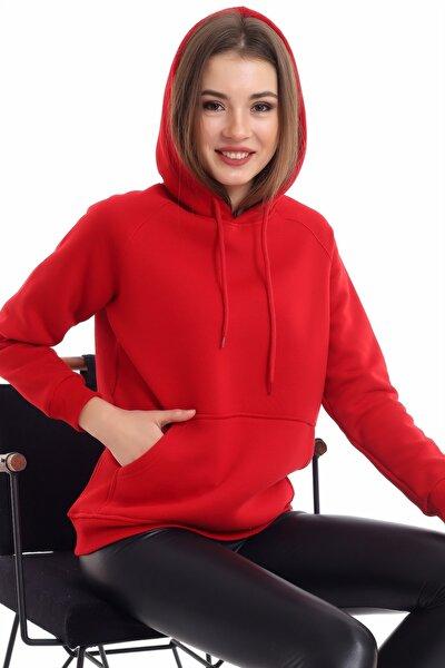 Kadın Bordo Cep Detaylı İçi Pamuklu Sweatshirt