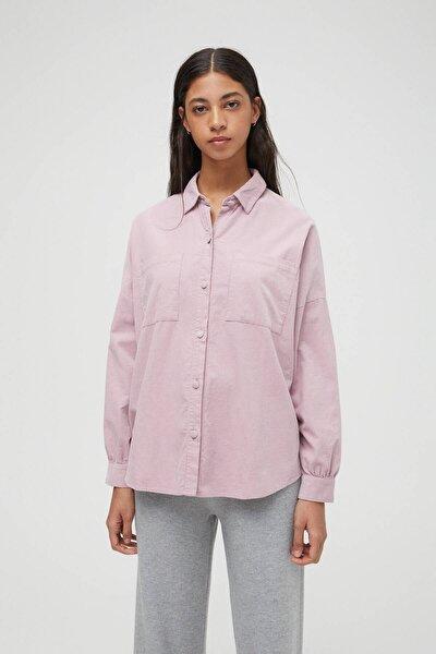 Kadın Lila Ince Fitilli Kadife Oversize Gömlek