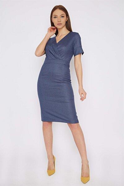 Kadın Mavi Üstü Kruvaze Elbise