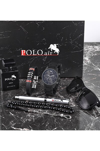 Polo Erkek Set Kombin Saat Gözlük Parfüm Tesbih Kalem Bileklik Özel Kutulu Pl-0432e1