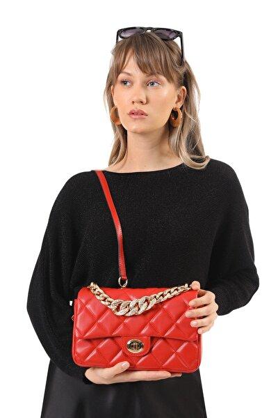 Kadın Kırmızı Halka Detaylı Çanta