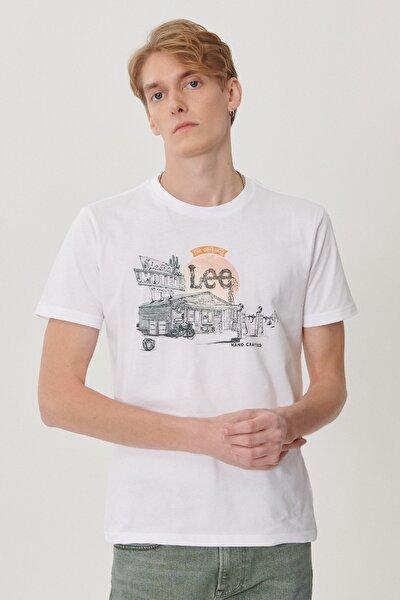 Erkek Beyaz Regular Fit Bisiklet Yaka T-Shirt