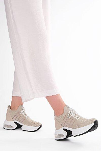 Kadın Bej Çorap Dolgu Topuk Spor Ayakkabı Bilva