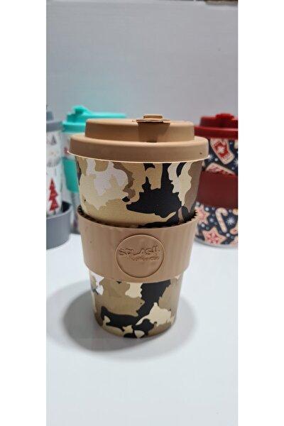 Splash Coffee Cup Silikon Kapaklı Kahve Bardağı Kamuflaj Desenli 350cc