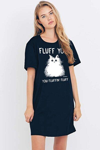 Kadın Lacivert Pofuduk Kısa Kollu Penye T-shirt Elbise