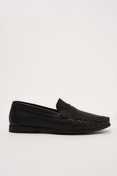 Hakiki Deri Siyah Erkek Loafer Ayakkabı 02AYH206310A100