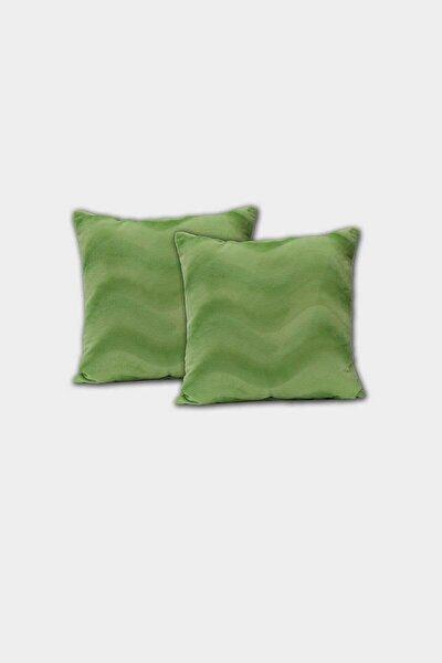 Dekoratif Kırlent Kılıfı Peluş Yeşil 2li (45x45)