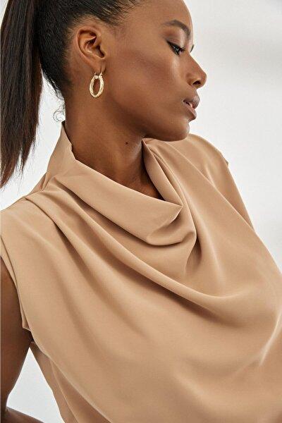 Kadın Camel Omuz Vatkalı Bluz