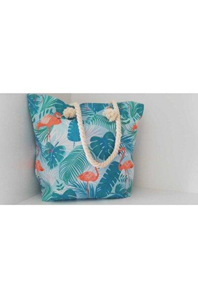 Desenli Plaj Çantası Flamingo