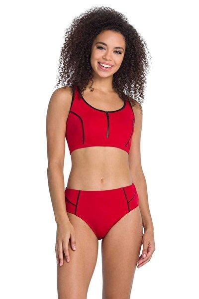 Kadın Kırmızı Fermuarlı Yüzücü Bikini Takımı
