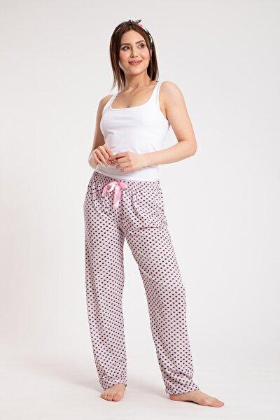 Kadın Puantiyeli Penye Tek Alt Pijama Pudra