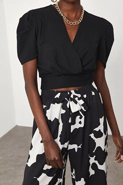 Kadın Siyah Kruvaze Bluz 1KZK2-11592-02