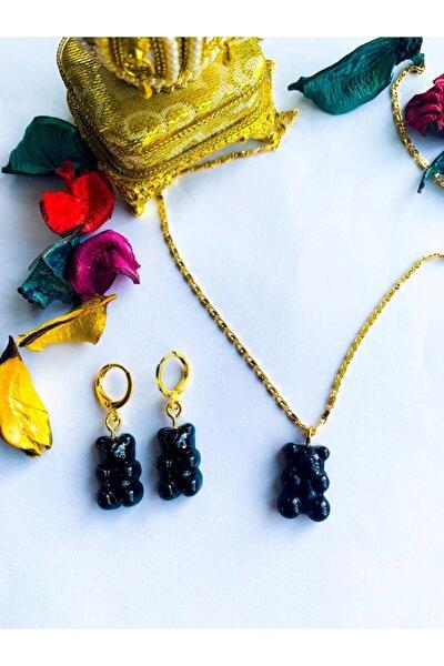 Siyah Jelibon Ayıcıklı Haribo Model Gold Zincir Kolye Ve Altın Kaplama Küpe Seti