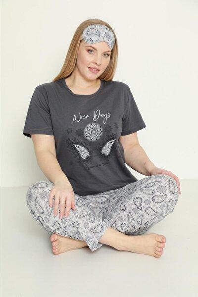 Kadın Büyük Beden Pamuklu Gri Desenli Kısa Kollu Battal Pijama Takımı