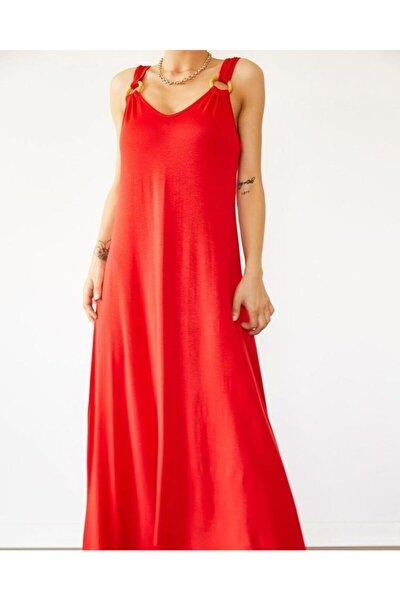 Kadın Kırmızı Uzun Askılı Elbise