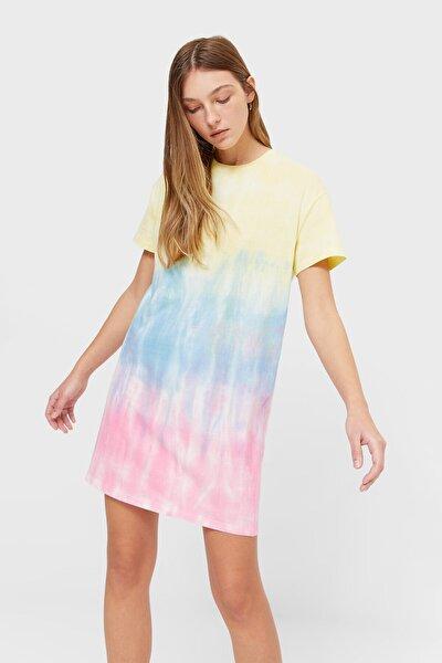 Kadın Çok Renkli Kısa Kollu Elbise