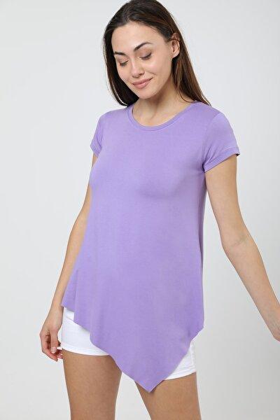 Kadın Lila Asimetrik Kesim Uzun Basic T-shirt