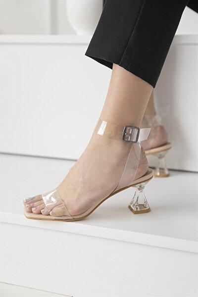 Fevers Kadın Şeffaf Topuklu Sandalet Ten