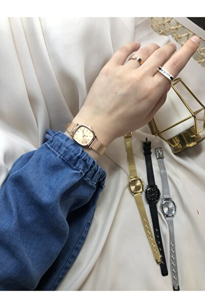 Retro Minimal Çelik Hasır Kordon Kadın Kol Saati - Rose