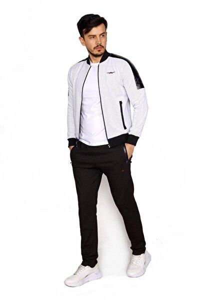 Erkek Beyaz Petek Kumaş Kol Deri Garnili Kolej Yaka Eşofman Takımı