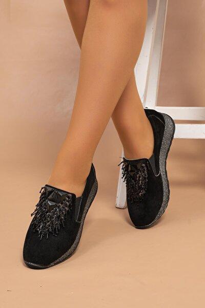 Kadın Siyah Süet Boncuk Örme Toka Süper Hafif Poli Simli Taban Babet Ayakkabı