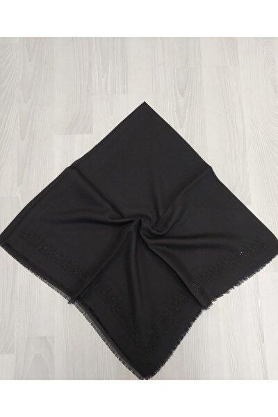 Siyah Taşlı Pamuklu Eşarp