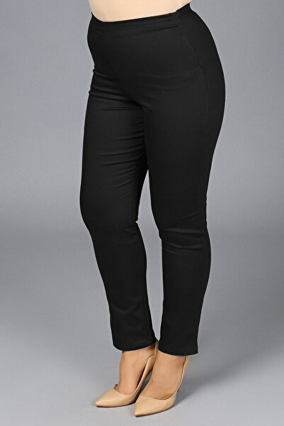 Kadın Siyah Likralı Mom Beli Lastikli Yüksek Bel Pantolon G049-1