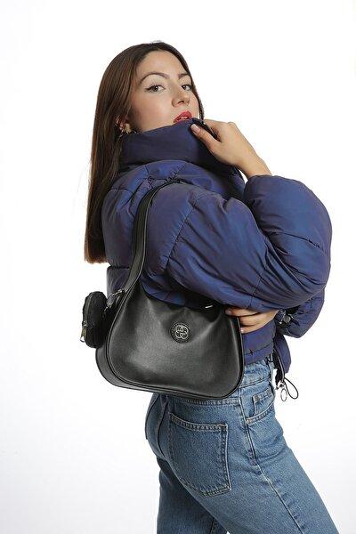 Kadın Siyah Caynda Deri Baget Çanta