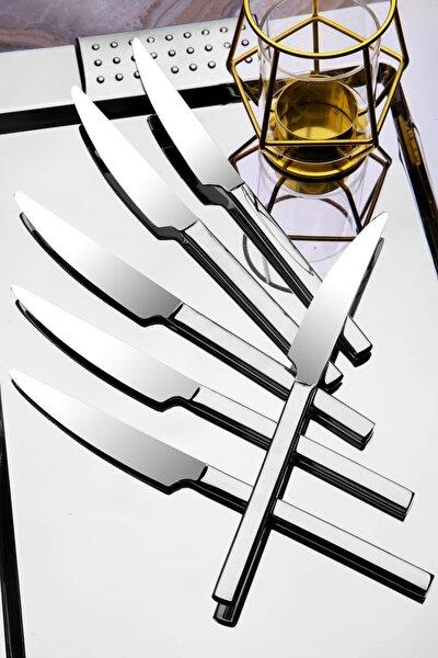 2 Adet Lüx Titanyum Gümüş Yemek Bıçak Seti