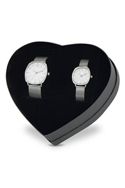 Hasır Çift Saatleri - Gri Çift Bayan Erkek Kol Saat Ps1622