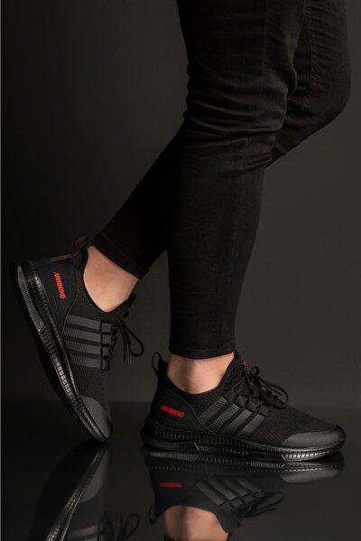 Erkek Siyah Kırmızı Yürüyüş Ayakkabısı