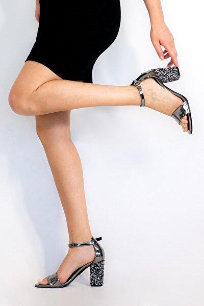 Kadın Platin Silvy Topuklu Sandalet