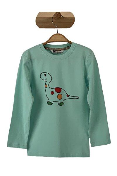 Unisex Çocuk Yeşil Dino T-shirt
