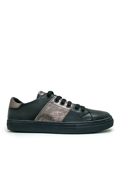 Siyah Deri Kadın Casual Ayakkabı 13010