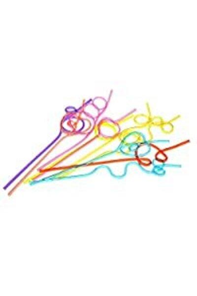 Şekilli Pipet Renkli Crazy Pipet 10 Adet