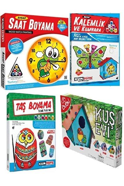 Kalemlik Ve Kumbara Boyama+saat Boyama+kuş Evi Boyama+taş Boyama 4lü Boyama Sanatı Seti