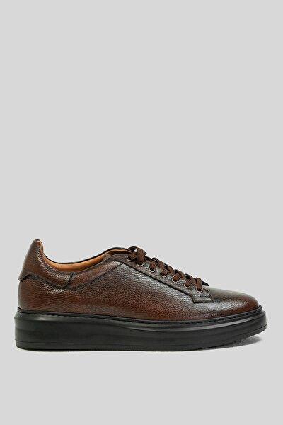 Erkek Kahverengi Deri Sneaker