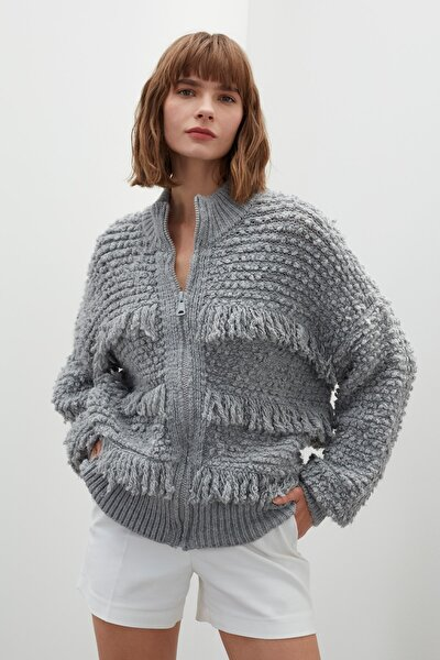Kadın Gri Püsküllü Fermuarlı Triko Ceket