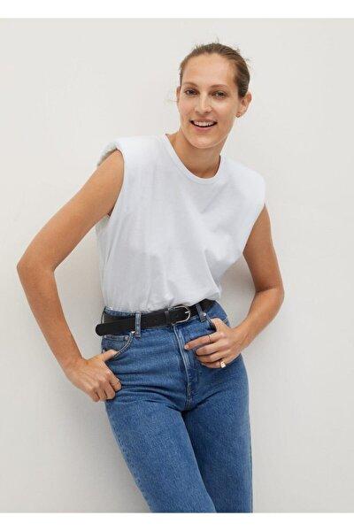 Kadın Beyaz Organik Pamuklu Vatkalı T-Shirt