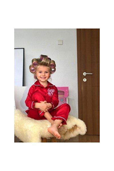 Kız Çocuk Pamuk Satenli Kırmızı Pijama Takımı