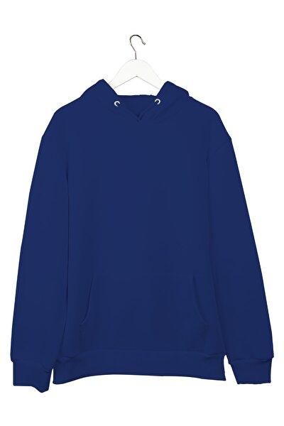 Koyu Mavi Basic Hoodie