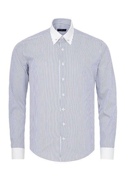 Erkek Mavi Beyaz Çizgili Slim Fit Yaka İğneli Gömlek