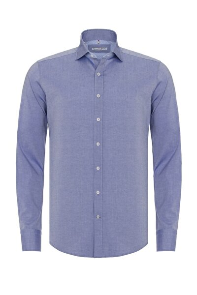 Erkek Mavi Slim Fit Casual Gömlek