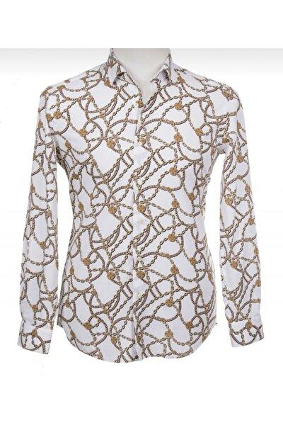 Erkek Beyaz Gold Zincir Desenli Gömlek