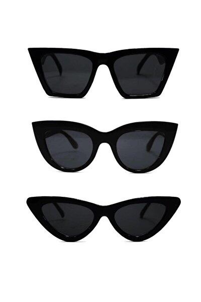 Kadın Güneş Gözlüğü 3 Lü Set Catset3sıyah