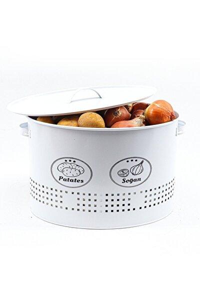2 Bölmeli Metal Patates Soğan Saklama Kutusu Beyaz