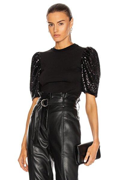 Kadın Siyah Payet Karpuz Kollu Top Bluz